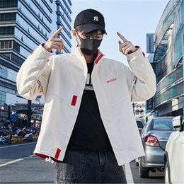 Wholesale korean coats male for sale – winter Fahion Loose Man Jacket Korean Version Zipper Pocket Male New Coats Long Sleeved Casual Outerwear Spring Autumn Jackets Clothing