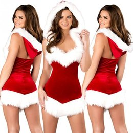 Wholesale Festival Red Sexy women christmas costumes lingerie short Dress Hat UNDERWEAR R45