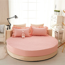 Bedding Padding Australia - Princess round sheet 100% cotton quilted fitted 3pcs set circle elastic bed cover king, super king size thicken pad