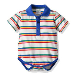 Chinese  2019 A New Kind of Baby Leisure Hat-shirt with Short Sleeves and Connected Hat-shirt and Pure Cotton Stripe Climbing Suit manufacturers