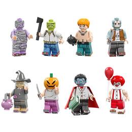 $enCountryForm.capitalKeyWord Australia - 8pcs Lot Mini Action Figure Joker Clown Monster Vampire Pumpkin Witch Zombie Building Blocks Halloween Gift Toy For Kid Children