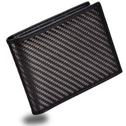 $enCountryForm.capitalKeyWord Australia - Mens Slim Front Pocket Wallet Carbon Fiber Bifold Trifold Wallet RFID Blocking #124628
