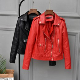 Lady Motorcycle Slim Jacket Australia - 2019 Autumn New Female Jacket Faux Soft Leather Coat Women Red black brown Short Korean Pu Outwear Lady Slim Motorcycle Jacket