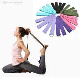$enCountryForm.capitalKeyWord Australia - Wholesale-New Multi-Colors Women Yoga Stretch Strap D-Ring Belt Fitness Exercise Gym Rope Figure Waist Leg Resistance Fitness Bands Cotton