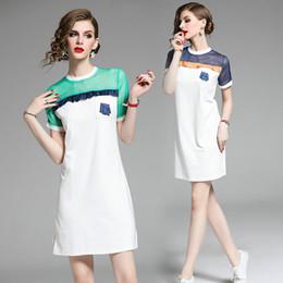 Young Girl Shirts Australia - Summer Womens Dress Short Sleeve Ruffles Chiffon Patch T-shirt Dress Fashion Casual Young Girl Dress Lady Work Dresses