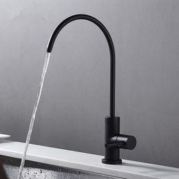 Trinkwasserhahn aus mattschwarzem Edelstahl RO Bleifreier Getränkehahn Trinkwasser-Filtrationssystem 1/4-Zoll-Schlauch im Angebot
