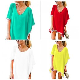 f1c78faca9fe1 Short Dress Tassels Solid Color White Balls Chiffon Beach Bikini Cover Ups  Loose Summer Womens Home Wear 16mw E1