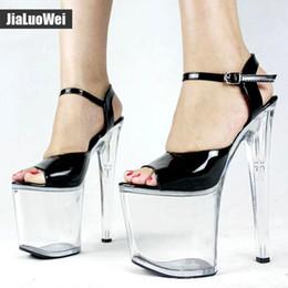 d4c7c86591e6 20cm Ultra high heel +9cm platform sandals Women Transparent Clear Sandals  Open toe Ankle Strap Buckle Shoe Sexual pole dance Shoes
