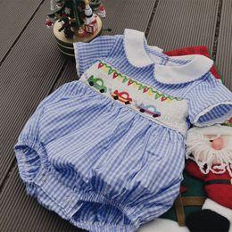 Jumpsuit Fashion Romper Australia - Baby Smocking Design Romper Summer Sweet Baby Girls Boys Unisex Embroidered Fashion Cotton Summer White Blue Plaid Jumpsuit Y19050602