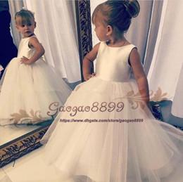 011e0a7c7ad0 2019 cheap Lovely White flower girl dresses For Wedding boho stain Tulle  sweep train zipper Princess Children first holy communion dresses