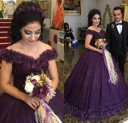 $enCountryForm.capitalKeyWord Australia - 2018 Purple Off the Shoulder Ball Gown Tulle Flowers Prom Dresses Beads Sequins Sweep Train Engagement Dress Pageant Gowns Custom Made