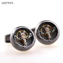 $enCountryForm.capitalKeyWord Australia - Hot Sale Movement Tourbillon Cufflinks For Mens Lepton High Quality Mechanical Watch Steampunk Gear Cuff Links Relojes Gemelos T190701