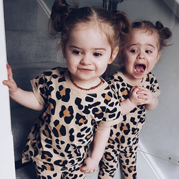 $enCountryForm.capitalKeyWord NZ - Baby Girls Summer Clothes Fashion Two Pieces Set Leopard Print Casual Short Sleeve T-Shirt And Pants Sets Girls Children Clothing