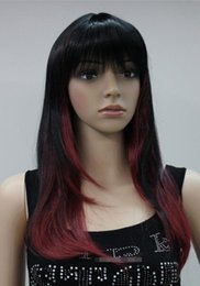 Mix Red Hair Australia - WIG Hivision heat resistant Party hair Free shipping>>>Stylish Black + Red Mixed Long Straight Women Ladies Daily wig Bangs ETLC