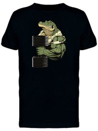 strong tees Australia - Strong Crocodile Dumbbell Men's Tee -Image