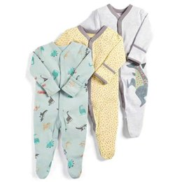 half rompers Canada - 2019 Baby Rompers Autumn Winter 3pcs Sleep Suit Dinosaur Print New Born Baby Clothes Baby Girl Romper Newborn Jumpsuit PajamasMX190912