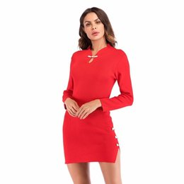 Chinese Sexy Crystal Dress UK - New Chinese Style Summer 2019 Vintage Women Dress Long Sleeve Package Hips Sexy Dress Black Red Slim Short Pencil Dress Vestidos