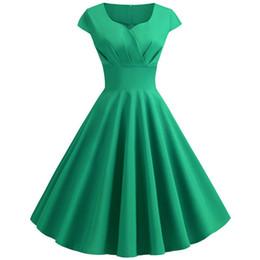 $enCountryForm.capitalKeyWord Australia - 2019 New Summer Women Vintage Dress Short Sleeve V Neck Casual Elegant Pin Up Party Midi Dresses Vestidos Robe Plus Size