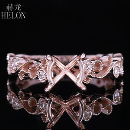 Diamond Wedding Ring Mounts Australia - Helon Art Deco Antique 7mm-8mm Round Solid 14k 585 Rose Gold Pave Diamonds Engagement & Wedding Semi Mount Filigree Femmes Ring Y19052301