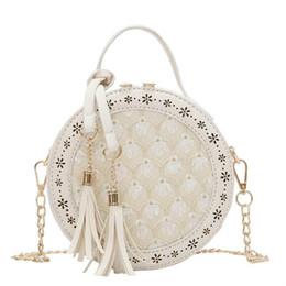 Ladies Lace Handbags Australia - Sweet Lace Round Female Bags2019 New Handbags High Quality Pu Leather Women Bag Lace Flower Tassel Tote Shoulder Crossbody Bag