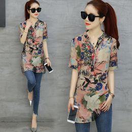 Spandex blouSeS online shopping - Womens Blouses Woman Tops Plus Xl Size Long Blouse Women Vintage Flower Printed Elegant Short Sleeve Shirt Loose Casual Big Size Top