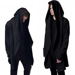 3a9b00631270 Men Hooded Sweatshirts With Black Gown Hip Hop Mantle Hoodies Fashion  Jacket long Sleeves Cloak Man's Coats Outwear