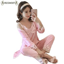 Spring Autumn Pajamas Women Gold Velvet Ice Silk velvet Three-piece Sexy  Lace Females Pajama Sets Fashion New Nightgown PR481 697a6e36f
