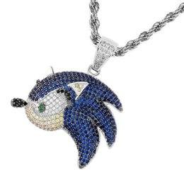 blue fish pendant UK - New Fashion 18k Gold Mens Womens Bling Blue Cubic Zirconia Flying Fish Evels Pendant Necklace Hip Hop Diamon personalized d Jewelry Bijoux