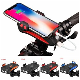Venta al por mayor de 4 en 1 bicicleta teléfono móvil cargador de soporte de luz soporte para teléfono móvil Ciclismo faros bocina de bicicleta cuerno de la bicicleta del tesoro 2000mAh FFA4120