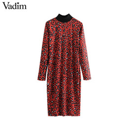 women s leopard print UK - wholesale women red leopard print midi dress animal pattern long sleeve stand collar chic straight dresses vintage vestidos QA979
