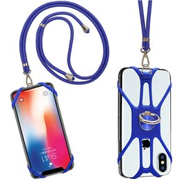 silicone phone holders NZ - Factory price OEM silicone mobile phone lanyard with Finger Ring ,cheap silicone neck lanyard with card holder for iphone x case