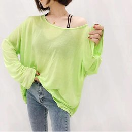 See Through Tee Shirt Australia - Summer Hot Sale Plain Slash Neck Perspective Loose Shirt Cotton Women's See-Through Batwing Sleeve Long Tee Shirts