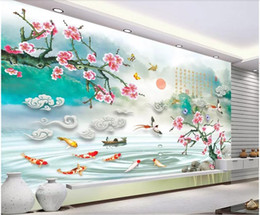 $enCountryForm.capitalKeyWord Australia - WDBH 3d wallpaper custom photo Chinese wind plum blossom flower fairyland fish room home decor 3d wall murals wallpaper for walls 3 d