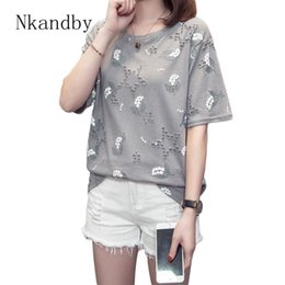 8ddd9c482 Plus Size Floral Print T-shirts Women Summer Funny Tshirts Short Sleeve  Harajuku Tops Oversized Hole Vintage Tee Shirt Femme 4xl T5190603