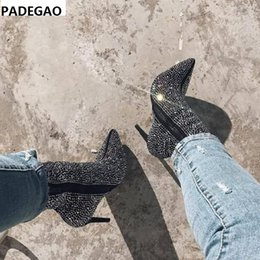 Boots Above Australia - European and American black and apricot suede pointed glitter side zipper ultra high heel (above 8CM) Martin boot ankle boot