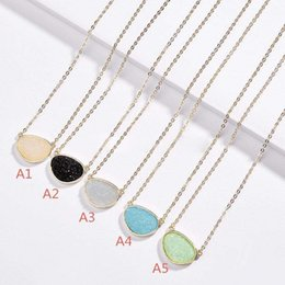Discount casual necklaces for women - Fashion Popular Druzy Necklace 2styles Gold Plated Geometry Resin Natural Stone Drusy Necklace For women jewelry
