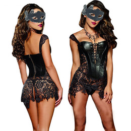 Sexy burleSque faux leather online shopping - Sexy Lingerie with G string Sets Women Faux Leather Lace Burlesque Steampunk Corset Dress Waist Gothic Bustier Corpet Plus Size