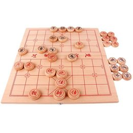 Portable board game online shopping - Traditional China Chess Various sizes Beech Wood Color Piece Wooden Folding Board Portable Puzzle Chess Games Set