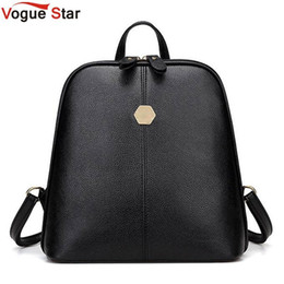 Back Packs Teenager Australia - Vintage Shell Leather Women Backpack Solid Color Black Zipper School Bag For Teenager Small Back Pack Shoulder Bag Lb211 Y19061102