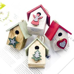cabin paintings Australia - Christmas Wooden Painted Cabin Pendant Christmas Tree Hanging Ornaments Decorations For Home Decor