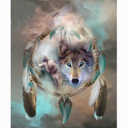 Cross Stitch Wall Painting NZ - Icon Diamond Embroidery Wolf Dream Catcher 5D Cross Stitch Square Drill Diamond Painting DIY Wall Sticker Decoration Paintings