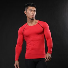 Mens hooded long sleeve t shirt online shopping - 2019 Mens Compression Shirts Layer Tight Top Shirt Under Skin Solid Long Sleeve T Shirts Black White Red T Shirt