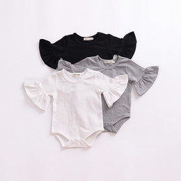 $enCountryForm.capitalKeyWord Australia - Baby girls boys Flare Sleeve romper infant Ruffle Sleeves Jumpsuits Fashion Boutique kids Climbing clothes 3 colors