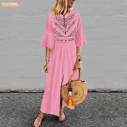 $enCountryForm.capitalKeyWord Australia - Bohemian Printd Long Sleeve White Sexy V Neck Ruffle Sleeve Split Maxi Dresses Holiday Casual Loose 2019 Vestido Plus Size