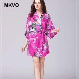 cc4956d2b14 Silk Nightgown Ladies Summer Sleeve Peacock Pajamas Bathrobes Oversized  Home Furnishings Kimono Nightdress Fashion Dressing Gown
