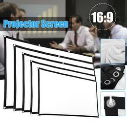 Venta al por mayor de 60/72/84/100/120/150 pulgadas portátil 16: 9 de pantalla blanca del proyector de proyección del holograma Teléfono móvil Cámara inteligente de Cine de audio-visual de la pantalla