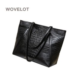 $enCountryForm.capitalKeyWord Australia - Hot sale New fashion casual glossy alligator totes large capacity ladies simple shopping handbag PU leather shoulder bags BlacK