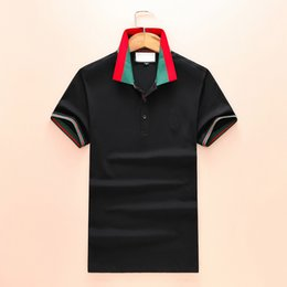 camisa polo slim fit 2019 - 100% Cotton Luxury Men T Shirt Designer Print Slim Fit Embroidery Polo T Shirts Homme Short Sleeve Mens Camisa tshirts M
