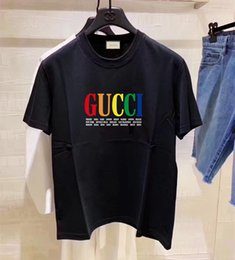 woman fashion sexy tee NZ - Women's Rainbow Letter Printing clothing Summer Fashion Europe slimT-shirt Women Casual short Sleeve lady t shirts Sexy Tee G2Gucci