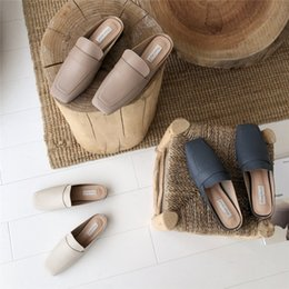 $enCountryForm.capitalKeyWord NZ - Crystal2019 Concise Colour Light Baotou Dawdler Half Slipper Woman Flat Bottom Level With Other Clothes Leather Shoes